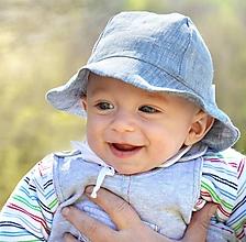 Detské čiapky - Klobúčik 100% ľan sivá EXCLUSIVE - 10673987_