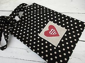 Nákupné tašky - bodka na čiernej-ekotaška - 10674062_