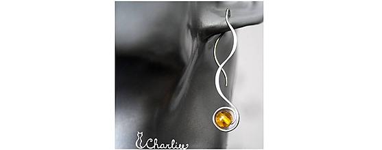 Náušnice - PROVLÉKACÍ (kratší) - CITRÍN - kámen štěstí - ocel - 10674954_
