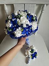 Kytice pre nevestu - Rozkvitnutá modrá kytica - 10675919_