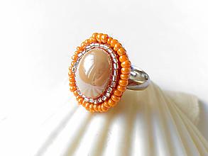Prstene - Oranžový prsteň s nastaviteľnou veľkosťou - 10674373_