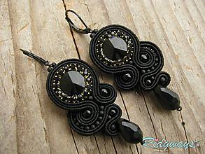 Náušnice - Black...soutache - 10679491_