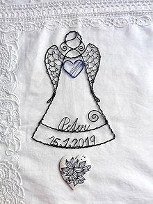Dekorácie - anjelik s menom a dátumom (Modrá) - 10679732_