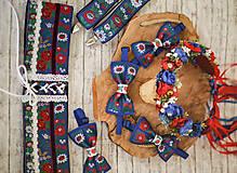 Doplnky - Veľký svadobný modrý folk set - predaj aj samostatne - 10677756_