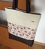 Veľké tašky - prírodná taška s koženkou - 10677795_