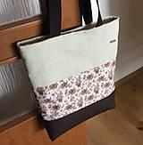 Veľké tašky - prírodná taška s koženkou - 10677797_