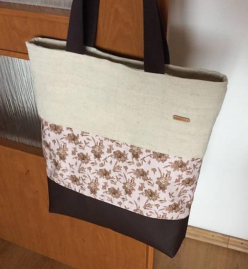 prírodná taška s koženkou