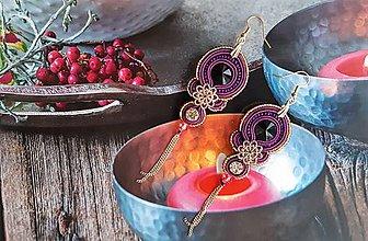 Náušnice - fialové náušnice s čiernym kryštálom - 10679514_