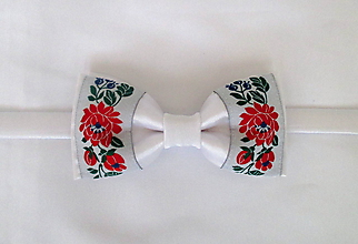 Doplnky - biely folk motýlik - 10677582_