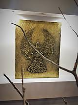 Obrazy - 3D reliéf, Anjel na plátne 50 x 40 cm - 10679575_