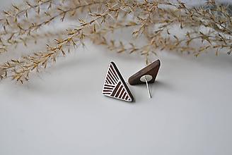 "Náušnice - Drevené napichovacie náušnice ""Triangle"" - 10679992_"