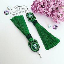 Náušnice - Ručne šité šujtášové náušnice / Soutache earrings -  Swarovski®️crystals (Maja - zelená/royal green) - 10679755_