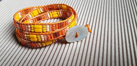 Náramky - Wrap náramok oranžovo žltý - 10678197_