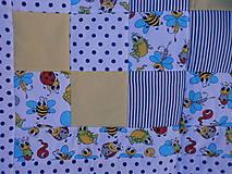 """Textil - """"Veselé chrobáčiky"""" žlto - modrá deka - 10678941_"""