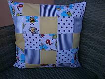 """Textil - """"Veselé chrobáčiky"""" žlto - modrý vankúšik - 10678983_"""