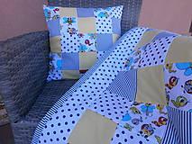 """Textil - """"Veselé chrobáčiky"""" žlto - modrý vankúšik - 10678987_"""