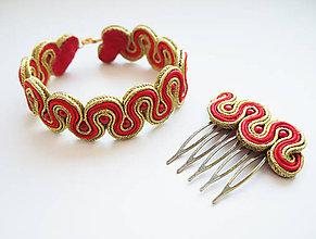 Sady šperkov - Zlato-červený set - 10678035_