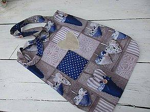 Nákupné tašky - Ekotaška srdce v modrej - 10677492_