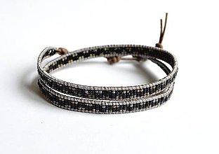 Šperky - Wrap pánsky náramok sivé antik kožu - 10678446_