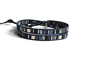 Šperky - Pánsky wrap náramok za sklenených korálikov v koži - 10678480_