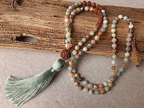 Náhrdelníky - Mala náhrdelník rudraksha, amazonit a slnečný kameň - 10682545_