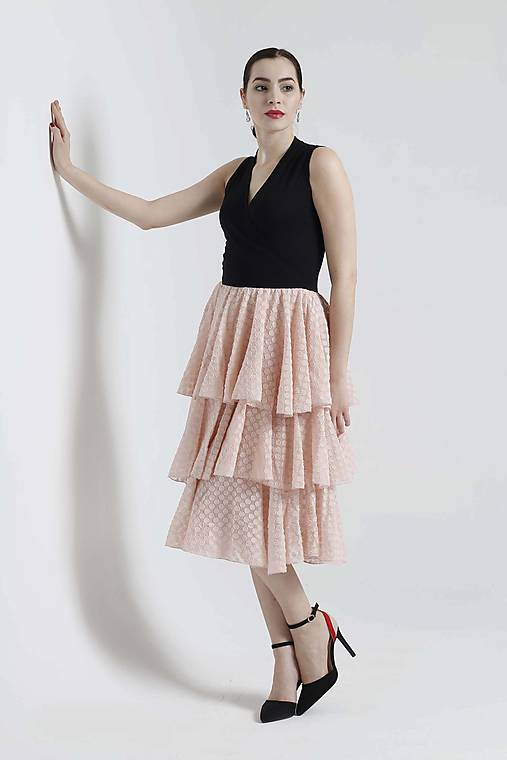 Šaty - Šaty s volánovou šifónovou sukňou - 10680484_