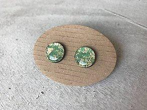 Náušnice - Zeleno - zlaté ďobky - 10683034_