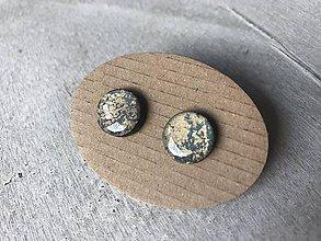 Náušnice - Modro - zlaté ďobky - 10683047_