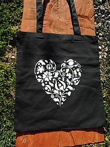 Nákupné tašky - white heart on black ekotaška - 10681777_