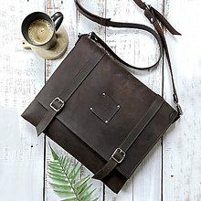 Tašky - Sam - pánska kožená taška (Dark Brown) - 10681732_