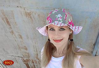 Čiapky - letní romantický klobouk na mašli, hnědorůžový mix - 10681800_