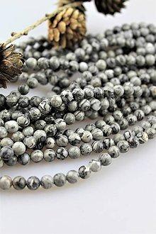 Minerály - jaspis sivý korálky 6mm - strieborný jaspis - 10682794_