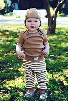 Detské oblečenie - Tepláčiky NATURE pásik (bio-bavlna) - 10680900_