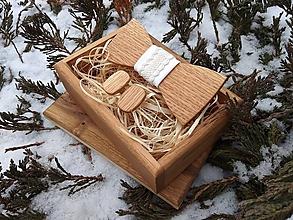 Doplnky - Pánsky drevený motýlik, manžetové gombíky a krabička - 10680740_
