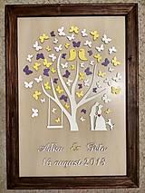 Dekorácie - Svadobná kniha hostí - strom/motýle - 10682535_