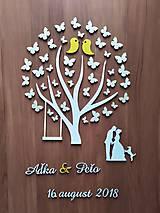 Dekorácie - Svadobná kniha hostí - strom/motýle - 10682540_
