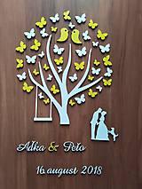 Dekorácie - Svadobná kniha hostí - strom/motýle - 10682541_