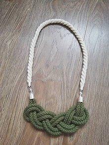 Náhrdelníky - Viazaný náhrdelník - III.  (Zelená) - 10680620_