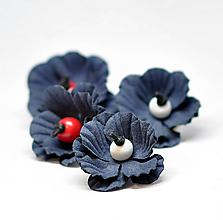 Náušnice - Makovičky modré - 10681876_