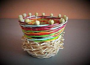 Dekorácie - sada STRAČIE HNIEZDO (košíček s korálkami - 1 kus) - 10681555_