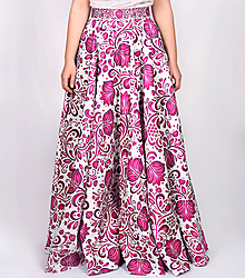 Sukne - VEJANA - potlač FOLK ROSES (ružový folk na bielej) - 10681632_