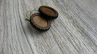 Komponenty - Drevené ozdobné lôžka visiace náušnice, 1 pár (zlatý kov) - 10680926_