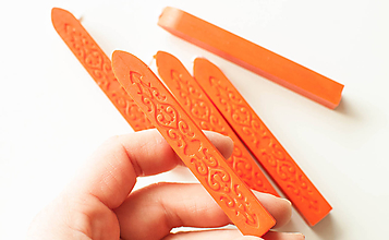 Suroviny - Pečatný vosk s knôtom / 25 odtieňov (Oranžová) - 10680548_