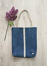 Veľké tašky - Denim taška na rameno s čipkou - 10681274_
