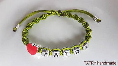 Náramky - Saténové náramky Tatry - srdce (Zelená) - 10680184_