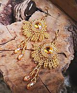 - Šité náušnice zlaté, Swarovski - 10681609_