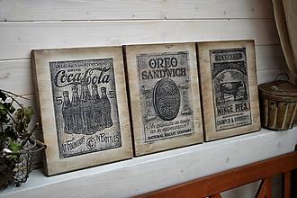 Tabuľky - Staré reklamné tabuľky (sada troch tabuliek) - 10682385_