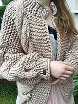 Svetre/Pulóvre - Romantic cardigan-beige,premium akryl - 10684517_