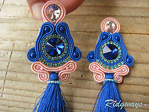 Náušnice - Tassels collection...soutache (Blue/Rose) - 10685424_