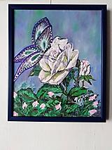 Motýľ a ruža... olejomaľba